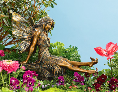 Statues Figurines Large Garden Fairy with Butterfly