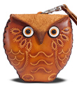 Little Brown Leather Owl Purse