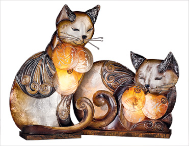 These Cats Sit Placidly On Your Shelf Or Table, Their Hearts Luminous.  Textured Metal Cat Lamps With ...